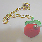 Apple with Worm Pendant Necklace