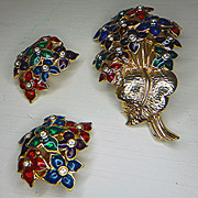 Bunch of Flowers Brooch and Earrings