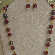 Elegant Cherry Red Necklace & Earrings