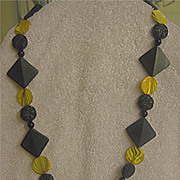 Beautiful Black & Yellow Glass Necklace