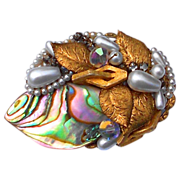 1950s Designer Brooch, Genuine Abalone, Pastel Aurora Borealis Rhinestones