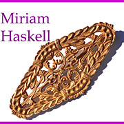 Signed Miriam Haskell Goldtone Open Filigree Brooch