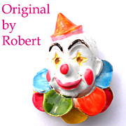 Signed Original by Robert Enameled White Faced  Clown Brooch
