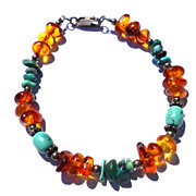 Genuine Turquoise Beads and  Amber Nuggets Bracelet .925 Silver Vintage