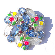 Brooch, Navettes and Chatons Laid Over with Enameled Floral Vines