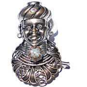 Bejeweled Genie or Blackamoor or  Sultan with Turban,  Petite Pin