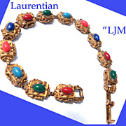 Signed LJM Vintage Slide Bracelet Faux Gems Victorian Revival
