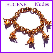 Signed Eugene Exotic Nude Woman  5 Charms Bracelet, Rich Gold-Tone