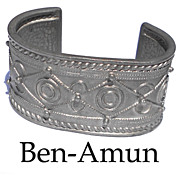 Signed Ben-Amun Statement Bracelet Pewter Cuff Designer Handcrafted