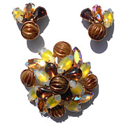 Glowing Yellow Givre Stone Navettes, Brown and Aurora, Brooch Earrings Set