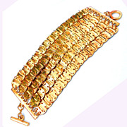 Gorgeous Goldtone Supple Bracelet, Perfect Condition, Many Linked Little Discs