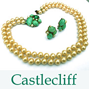 Signed Castlecliff Glass Faux Pearls 2 Str Necklace Fancy Green Clasp/Earrings