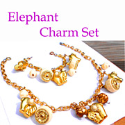 Chunky Elephant Charms with Faux Ivory, Smashing Necklace Bracelet Set