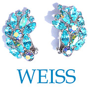 Signed Weiss Rhinestone Aquamarine Blue Aurora Borealis Earrings UNWORN
