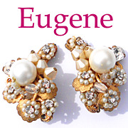 Signed Eugene Handcrafted 1950s Floral Faux Pearl Earrings