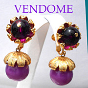Signed Vendome Purple Glow in Top Cap, Drop Earrings UNWORN Vintage