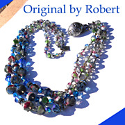 Signed Original by Robert Blue & Smoky Givre Crystal Beads 3Strand Necklace