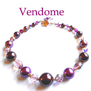 Signed Vendome Purple Lavender Faceted Crystal Glass  Bead Necklace