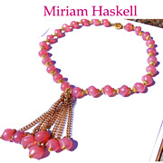 Signed Miriam Haskell Pink Opalescent Glass Gilded Tassel Necklace