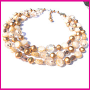 Gorgeous Chunky 3-Strand Necklace, Matte Gilded and Satin White Beads
