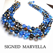 Signed Gorgeous Montana Blue/Charcoal/Goldcoated Crystal Faceted Bead  3-Strand Necklace