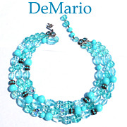 Signed DeMario Stunning Aqua Turquoise Hued 3-Strand Necklace Glass Crystal Beads