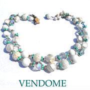 Signed Vendome Double Strand White Bead Necklace Green Caps
