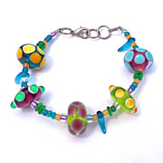 Funky Vintage Colorful Glass Faux Paperweight Fat Bead Bracelet