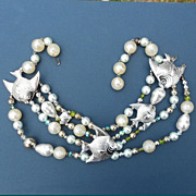 Stunning Festoon Angelfish Necklace with Big Lustrous Faux Pearls