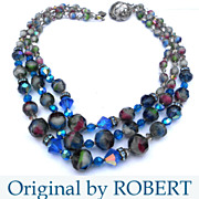 Signed Original by Robert Blue & Smoky Givre Crystal Beads 3�Strand Necklace