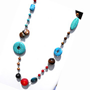 Semiprecious-Look Chain/Wire Necklace Marked 925