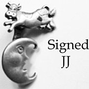 SALE The Cow Jumped Over the Moon, Pin Signed JJ