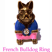 Enameled Vintage French Bulldog Ring with Rhinestone