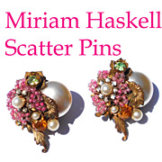 Signed Miriam Haskell Hard-to-Find Scatter Pins Glass Pearls Pink Rhinestones