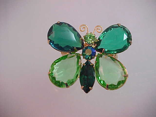 Vintage Green Rhinestones Butterfly pin Brooch