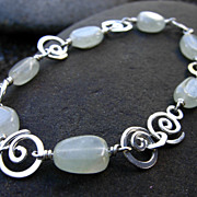 SEA And MOON Natural green Amethyst and Argentium Silver Swirl Bracelet and earring Set