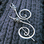 TREBLE CLEF Argentium Silver and Hematite Earring Sweater Brooch