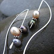 FROLIC Cultured Fresh Water Pearl Argentium Sterling Silver Earring Sweater Brooch