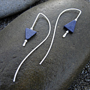 MIDNIGHT DRIFT Argentium Sterling Silver Blue Goldstone Mod Earring.