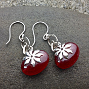 LACONIC Red Stone Sterling Silver Poinsettia Dangle Earring