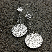 FLOURISH Sterling Silver Stamped  Flower Dangle earrings