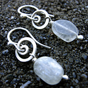 SEA And MOON Natural green Amethyst and Argentium Silver Swirl Earrings