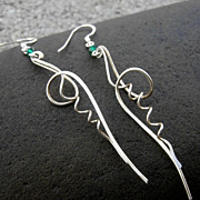 EVERGREEN TENDRIL Argentium Sterling Silver n Swarovski Crystal Earring