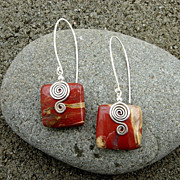 Red Jasper Square n Sterling S Swirl Earring
