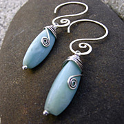 MEANDER Mint Green Amazonite Argentium Sterling Silver Earring
