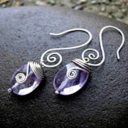 MEANDER Faceted Ametrine Oval Sterling Silver Swirl Hoop earring