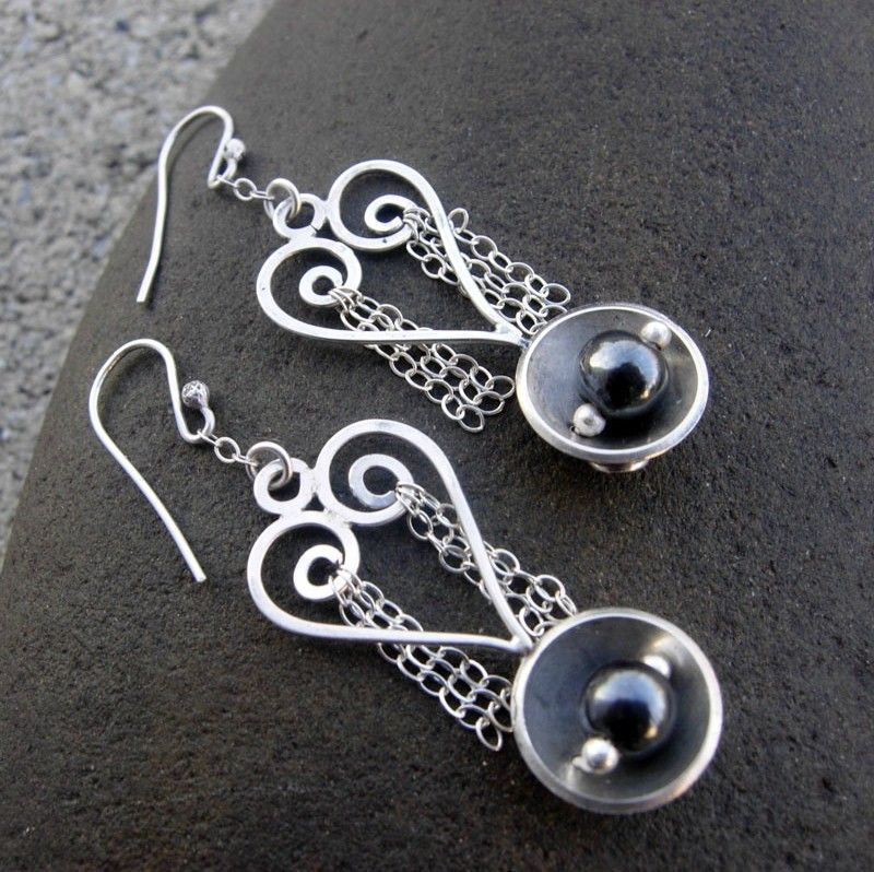 NESTLING Hematite and Sterling Silver Heart Earring