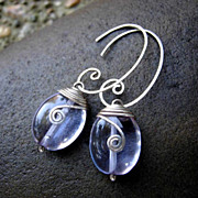 MEANDER Drop 12x15mm Violet Quartz and Sterling Swirl Hoop Dangle Earring