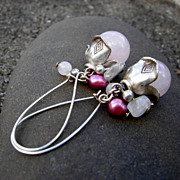 TRINKET Rose Quartz Sterling Silver Earring