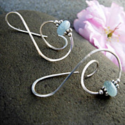 LEAP &quot;&&quot; Aquamarine n Argentium Sterling silver Earring